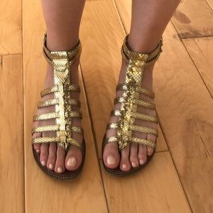 Sam Edelman gold snakeskin gladiator sandals